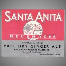 Vintage Soda Bottle Paper Label - Santa Anita Beverages Ginger Ale