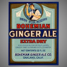 Vintage Soda Bottle Paper Label - Colorful Bohemian Ginger Ale