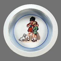 Vintage Bavaria Germany Baby Plate Feeding Dish with Children and Little Dog