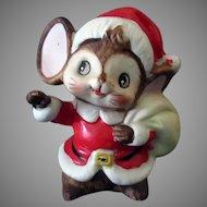 Vintage Christmas Santa Mouse 1970's Ceramic Decoration