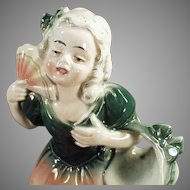 Vintage Hertwig Porcelain Figure - Young Girl with Fan Made in Germany
