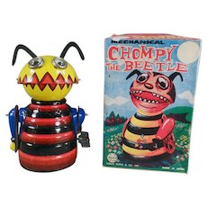 Vintage Marx Wind-Up Chompy the Beetle - Tin Toy with Original Box