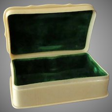 Vintage French Style Ivory Celluloid Dresser Box - Hinged Lid with Velvet Insert