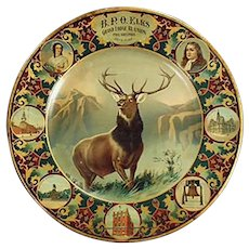 Vintage Elks Grand Lodge 1907 Lithographed Tin Plate
