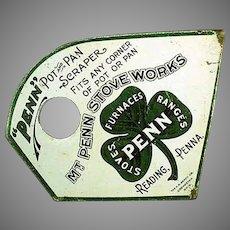 Vintage Lithographed Advertising Pot & Pan Scraper - Mt. Penn Stoves