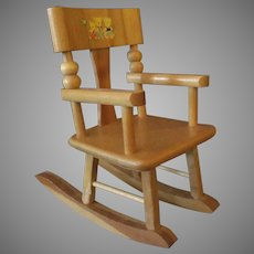 Vintage Strombecker Wooden Doll Furniture – Rocking Chair with Original 3 Bears Decal