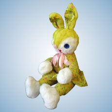 Vintage Plush Stuffed Bunny Rabbit with Springtime Print Body and Easter Outfit