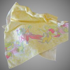 Vintage Baby's Flannel Receiving Blanket with Sleeping Clowns