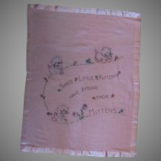 Vintage Baby Blanket with Hand Embroidered Three Little Kittens with Mittens