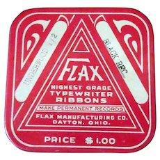 Vintage Flax Manufacturing Typewriter Ribbon Tin