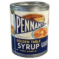 Vintage 1937 Sample Tin - Pennant Golden Table Syrup with Baby