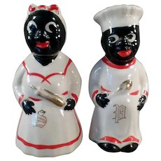 Vintage Mammy and Chef Salt and Pepper - Black Memorabilia S & P