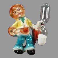Vintage Ceramic Egg Timer - Little Peasant Boy - Made in Germany