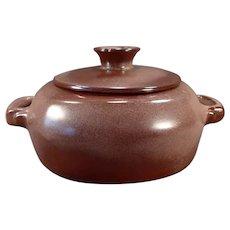 Vintage Frankoma Pottery 5V Casserole with Lid – Plainsman Pattern with Brown Glaze