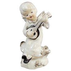 Vintage Angel Playing Banjo-Like Instrument Porcelain Figurine