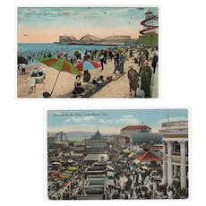 Two Vintage Postcards from Long Beach, California - 1920's The Pike