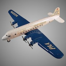 Vintage Marx Super 7 Clipper PAA - Pressed Steel Airplane 17inch Wingspan