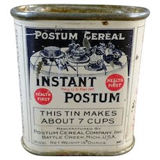 "Vintage Instant Postum Cereal, 7 Cup Sample Tin – Just Over 2"" High"