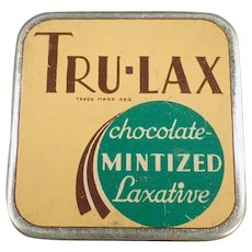 Vintage Tru-Lax Chocolate Mintized Medicine Laxative Tin