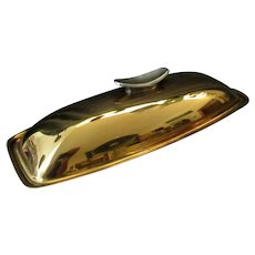 Vintage Gorham Giftware L775 Gold Tone Finish Mid-Century Covered Butter Dish