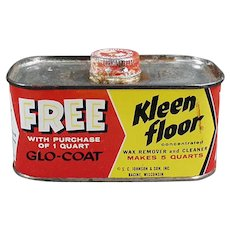 Vintage Advertising Tin - Johnson Wax Kleen Floor Tin - 1930's - 1950's