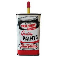 Vintage Master Mechanic Tru-Test Paints Advertising Household Oil Tin