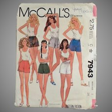 Vintage McCall's #7943 Pattern - Miss Size 8 - 1982 Short Shorts