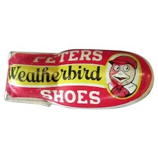 Vintage Tin Toy Advertising Clicker - Old Peters Weatherbird Shoes Premium