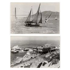 Vintage Photograph Postcards - San Francisco Cliff House & Sailboats