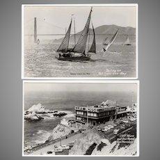 Vintage Photograph Postcards - San Francisco Cliff House & Sailboats