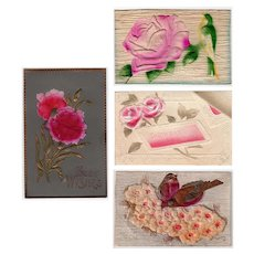 Four Vintage Floral Postcards with Pretty Embossed Designs