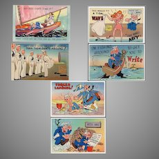 Six Humorous Vintage Postcards – Colorful Navy Spoofs - Never Used
