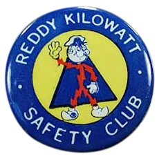 Vintage Reddy Kilowatt Safety Club Advertising Pinback