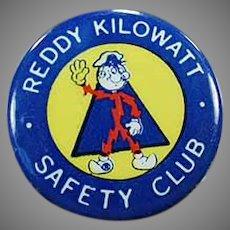 Vintage Reddy Kilowatt Safety Club Advertising Pinback