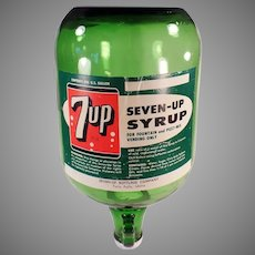 Vintage 7-Up Syrup Jug - Seven-Up Soda Fountain Dispensing Bottle