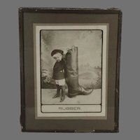 Vintage 1910 Photograph with Little Boy and Very Large Rubber Boot