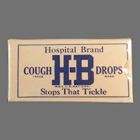 Vintage, Unopened H-B Hospital Brand Cough Drop Sample Box