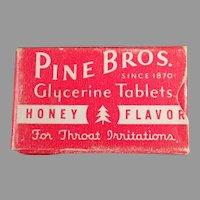 Vintage Pine Bros. Cough Drops Sample Medicine Box