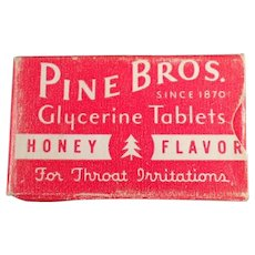 Vintage Pine Bros. Cough Drops Sample Medicine Box