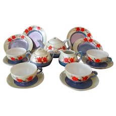 Child's Vintage Tea Set - Lustre Finish with Orange Flowers – Service for Four