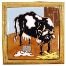 Framed Ceramic Art Tile - Colorful Kitchen Accent with Cow and Spilt Milk