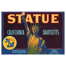 Colorful Vintage Fruit Crate Label with Statue of Liberty Graphics