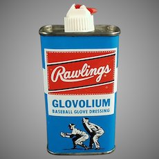 Vintage Rawlings Glovolium Leather Baseball Mitt Dressing Tin