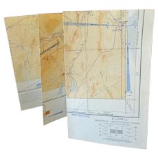 Vintage 1943 Elko Nevada Sectional Aeronautical Chart Map