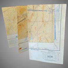 Vintage 1943 Elko Nevada Sectional Aeronautical Chart Map