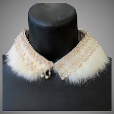 Vintage Neckline Enhancement – Rabbit Fur and Faux Pearl Beaded Peter Pan Collar