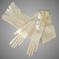 Vintage Kid Leather, Cream Colored Opera Gloves from Raphael Weill's White House