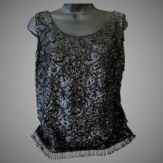 Ladies Vintage Black Beaded and Sequined Shell Top – Eloquent 1960's Evening Wear