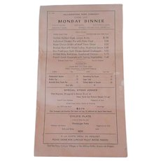 Vintage 1958 Yellowstone Park Monday Dinner Menu