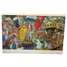 Vintage Matson Lines 1949 Menu Cover Artwork – Hawaiian Island Graphics with Captain Cook